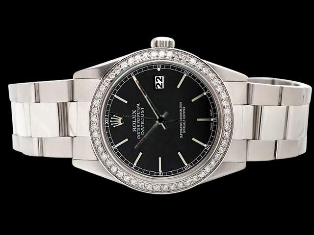 Black stick dial rolex watch datejust SS oyster bracelet diamond bezel