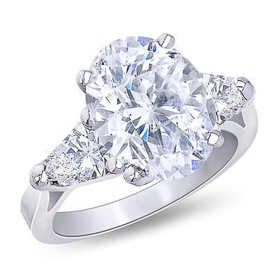 Center oval diamond 3-stone wedding ring 3.71 carat solid white gold 18K