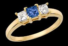 1 ct. blue GENUINE diamonds 3-stone ring new gold 14k
