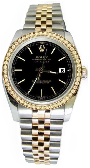 Black stick dial solid gold & steel rolex datejust watch diamond bezel jubilee