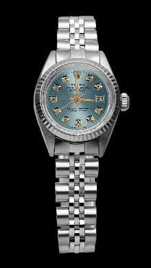 Blue diamond dial lady rolex fluted bezel SS jubilee bracelet datejust watch