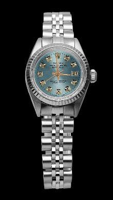 Blue diamond dial lady rolex fluted bezel SS jubilee bracelet datejust watch