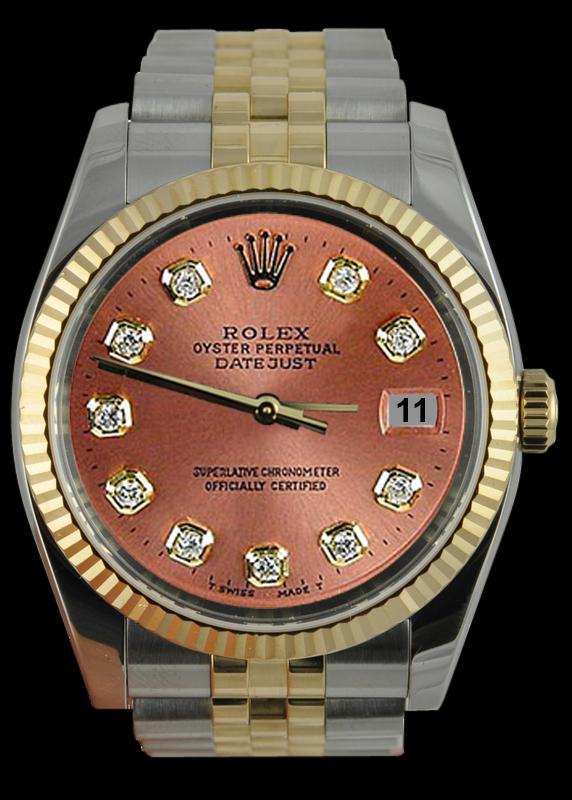 Brown diamond dial fluted bezel datejust gents watch SS & gold jubilee rolex