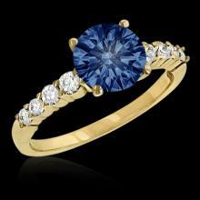 0.75 ct. blue diamond engagement ring yellow gold new