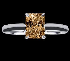 0.75 ct. champagne radiant diamond solitaire ring new