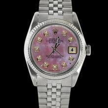 Date just rolex men watch SS jubilee bracelet fluted bezel pink diamond dial
