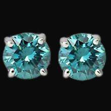 1.20 carat Blue diamond earring stud white gold gorgeous earring