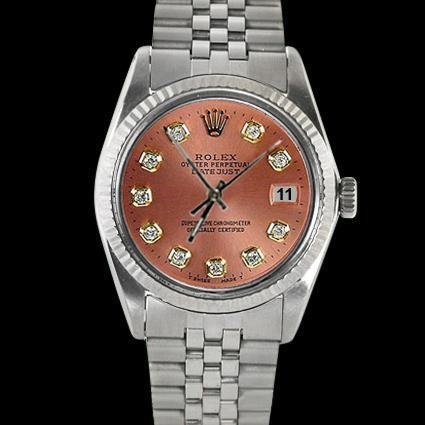 Brown diamond dial fluted bezel SS jubilee bracelet date just men watch rolex