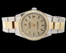 Brown stick dial perpetual date just watch rolex SS & gold oyster bracelet