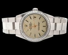 Brown stick dial rolex date just watch diamond bezel SS oyster bracelet