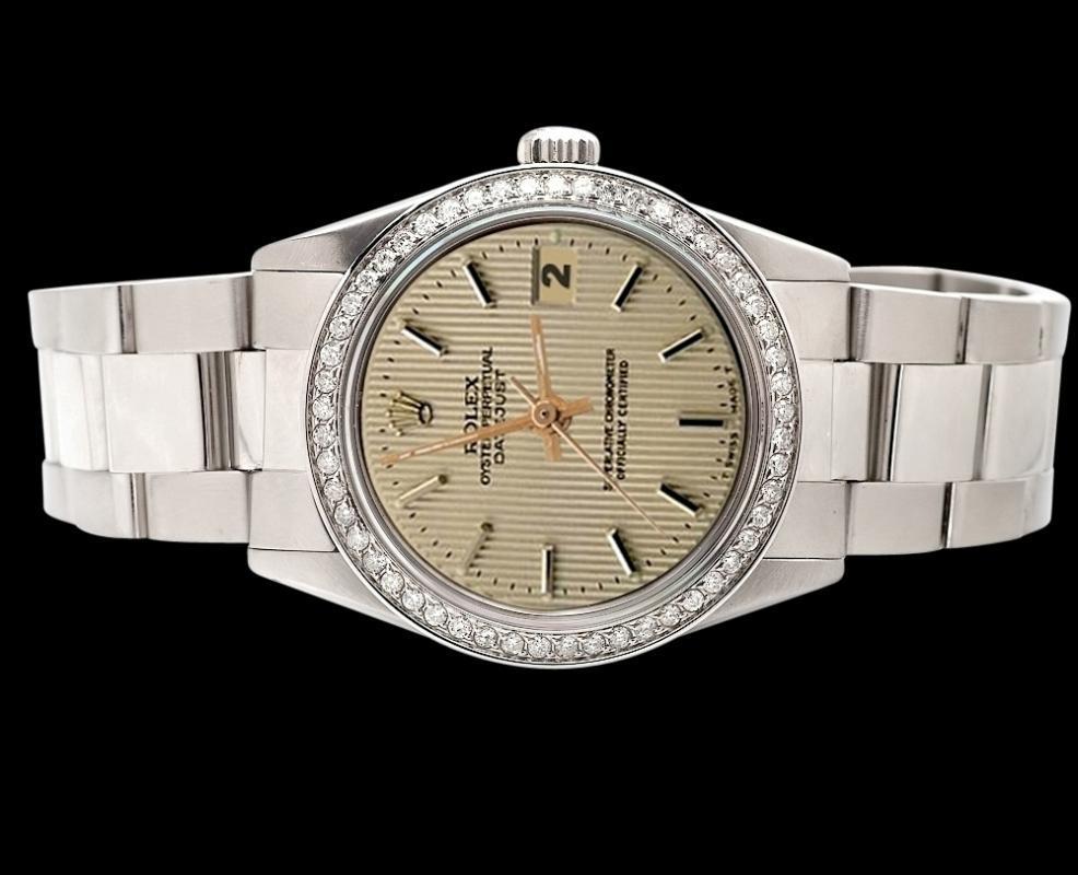 Brown stick dial rolex date just watch diamond bezel SS oyster bracelet