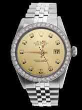 Champagne diamond dial bezel gents date just watch SS jubilee rolex bracelet
