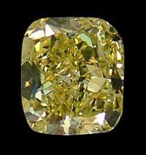 Cushion cut fancy yellow loose diamond 2.0 carats