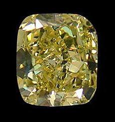 Cushion cut fancy yellow loose diamond 2.0 carats