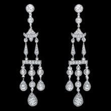 Diamonds Chandelier earring 3.5 carat white gold hanging jewelry women