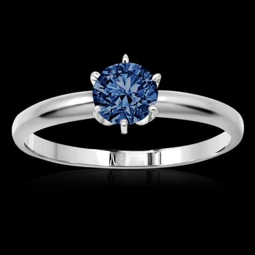 1 carat Blue diamond solitaire engagement ring gold white