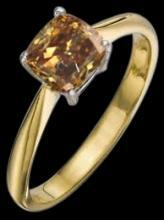 1 carat brown cognac diamond solitaire ring Yellow gold cushion diamond ring