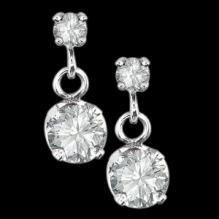 2.40 carats sparkling round brilliant diamonds dangle earrings pair