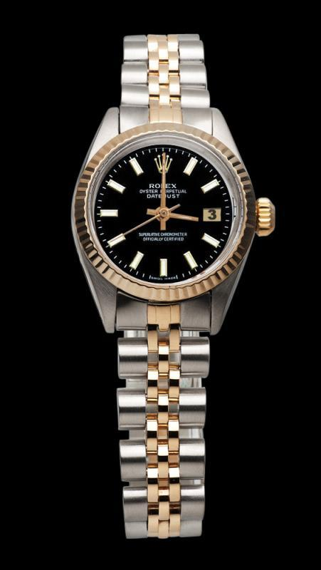 Black stick dial lady rolex datejust watch jubilee bracelet SS & pink gold