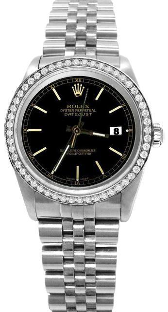 Black stick dial rolex date just SS jubilee diamond bezel datejust watch