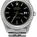 Black stick dial rolex date just SS jubilee diamond bezel datejust watch