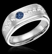 Blue & white diamonds wedding band gold ring 1.75 carat