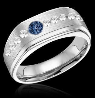 Blue & white diamonds wedding band gold ring 1.75 carat
