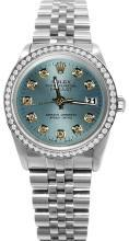 Blue diamond dial rolex date just SS jubilee bracelet diamond bezel watch