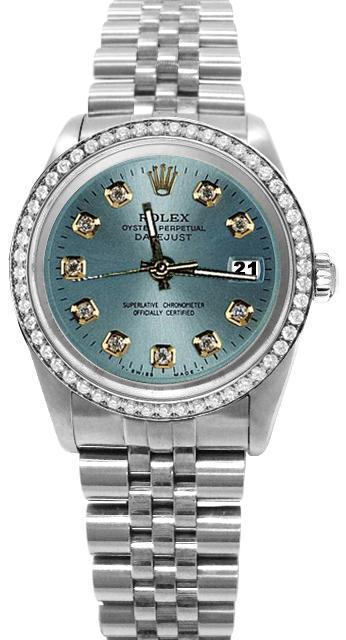 Blue diamond dial rolex date just SS jubilee bracelet diamond bezel watch