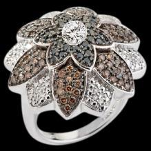 6.51 carat black chocolate & white diamonds flower style ring