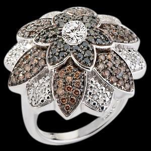 6.51 carat black chocolate & white diamonds flower style ring