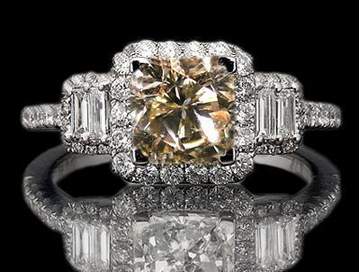 5.51 carat Brown Three stone diamond ring white gold