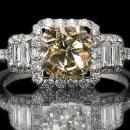 5.51 carat Brown Three stone diamond ring white gold