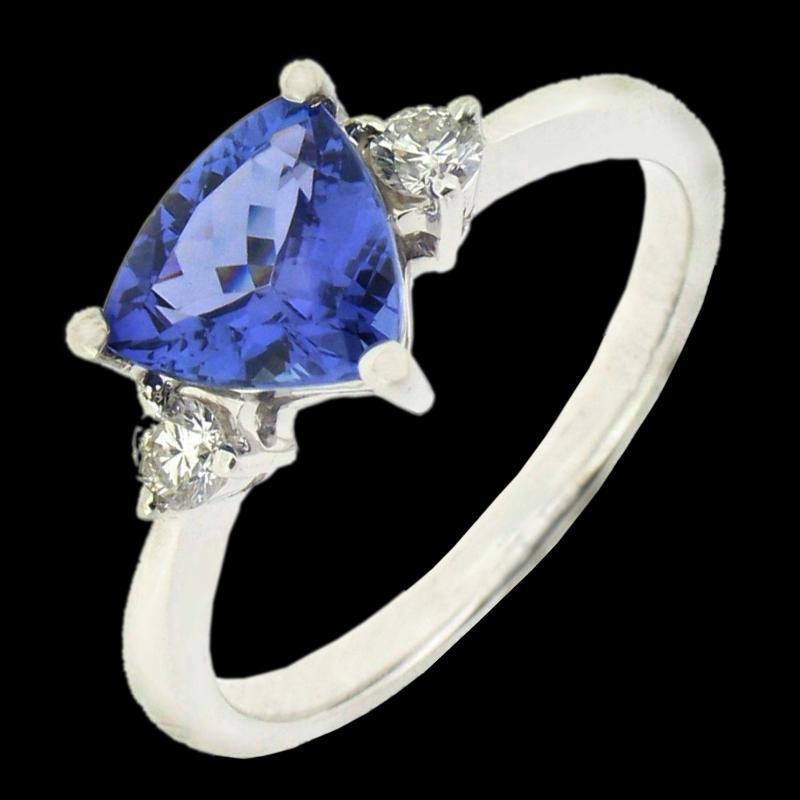 Tanzanite �AAA� trillion & round diamonds 5.01 carat wedding ring new
