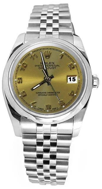 Champagne Arabic dial rolex perpetual date just SS watch jubilee smooth bezel