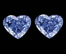 Heart shape blue loose diamonds pair 1.50 carat diamond