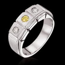 1 carat certified yellow diamonds 3-stone engagement ring gold men's