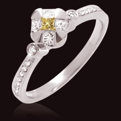 1.25 ct. fancy yellow & white diamonds wedding ring new