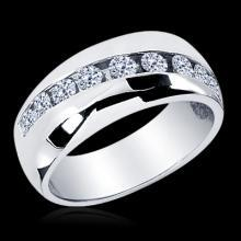 1.25 CT. MEN'S ROUND CUT DIAMOND WEDDING BAND RING 14K White gold