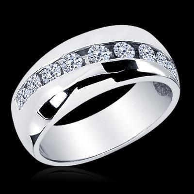 1.25 CT. MEN'S ROUND CUT DIAMOND WEDDING BAND RING 14K White gold