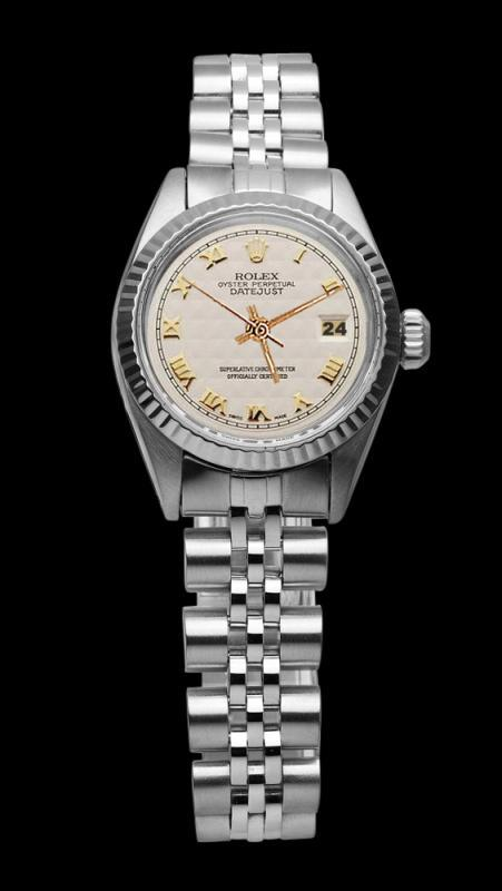 Fluted bezel lady watch white roman dial rolex SS jubilee bracelet datejust
