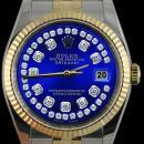 Fluted bezel rolex blue string diamond dial datejust men watch SS & gold jubilee