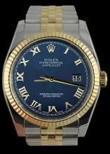 Fluted bezel rolex date just gents watch blue roman dial SS & gold jubilee