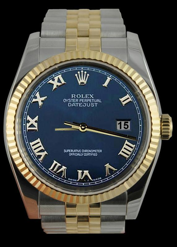 Fluted bezel rolex date just gents watch blue roman dial SS & gold jubilee