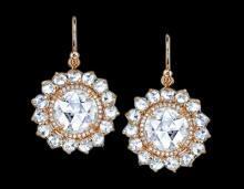 Diamonds dangle earrings pair yellow gold 2.50 carat diamond ear ring