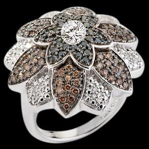 Flower design diamond ring black chocolate diamonds