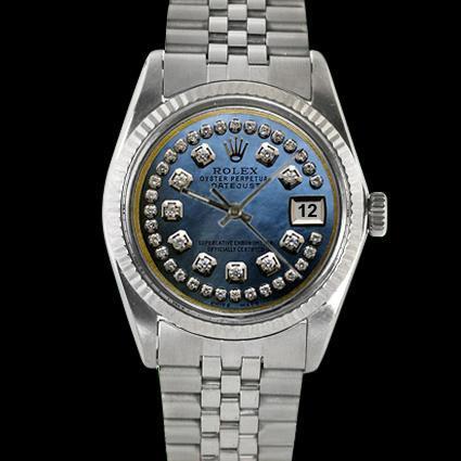 Fluted bezel blue string diamond dial rolex gents datejust watch SS jubilee