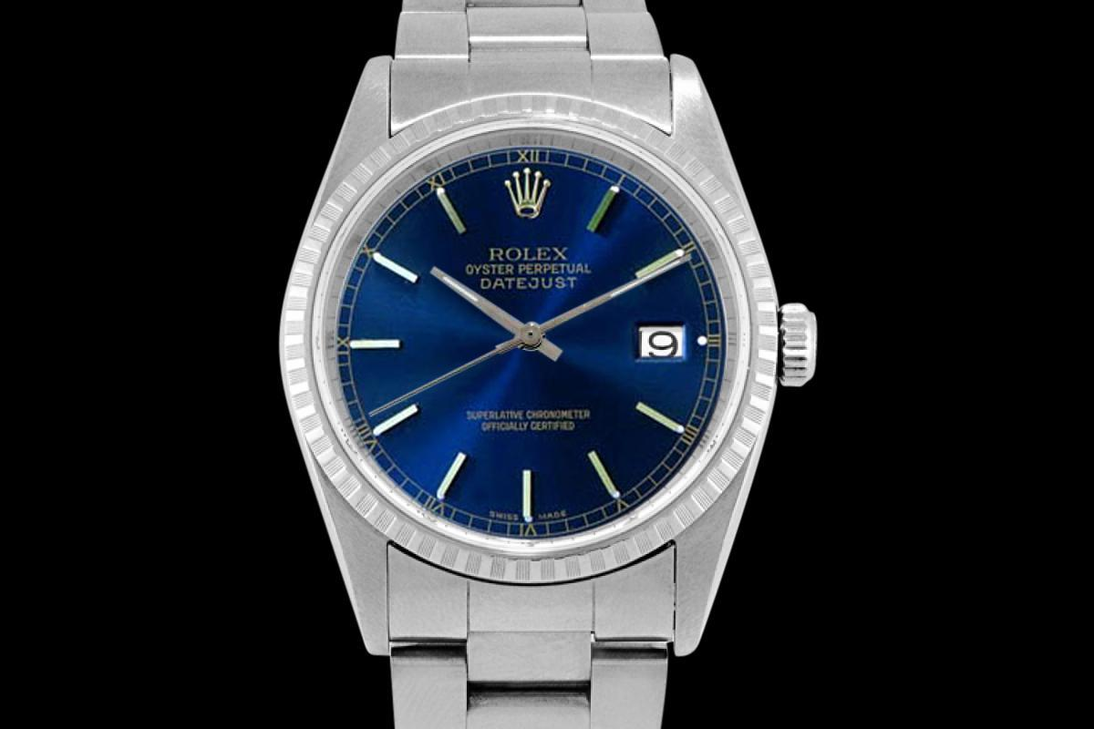 Fluted bezel rolex date just watch oyster perpetual blue stick dial rolex