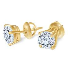 G SI1 round diamond stud earring pair 1.80 carats yellow gold 14K studs