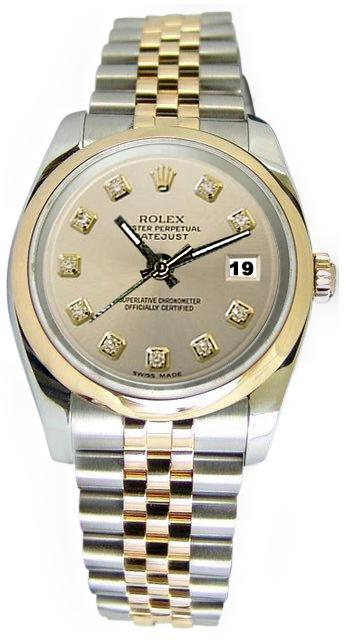 Gorgeous Solid gold & stainless steel rolex datejust watch diamond dial